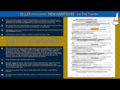 New Hampshire Title Transfer Instructions *SELLER*
