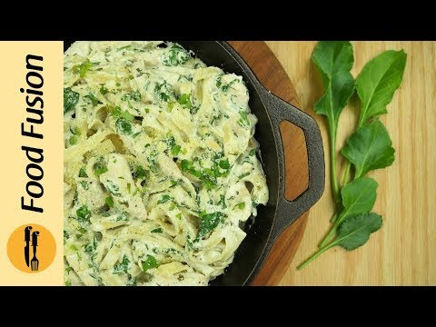 Alfredo Fettuccine with Spinach Recipe By Food Fusion