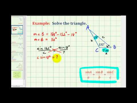 Example:  Solve a Triangle Using the Law of Sines Given Two Angles and One Side