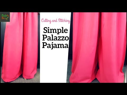 Simple Palazzo Pajama Making in 10 Minutes - Cutting and Stitching in Hindi/Urdu