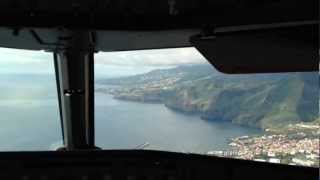 Landing in Madeira, view from an Airbus 320 cockpit