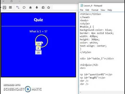 Making a simple html, javascript and css quiz tutorial - part 1