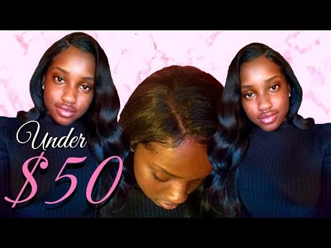 Under $50 Human Hair blend body wave lace front wig with 4x4 parting (Affordable MLUH94)!