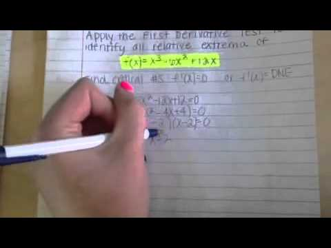 How to use the 1st Derivative Test to identify any relative extrema of f(x)=x^3-6x^2+12x