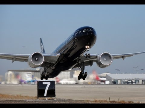 Air New Zealand 'All Blacks' Boeing 777-319(ER) [ZK-OKQ] Takeoff To London