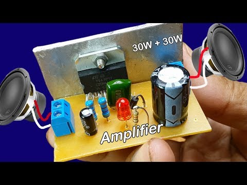 How to make power audio stereo amplifier TDA 7297 30W at home  power input DC 12V