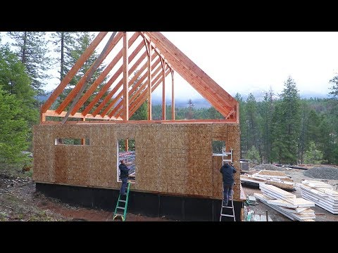 OUR FIRST WALL IS FINISHED! (Timber Frame SIP Installation)