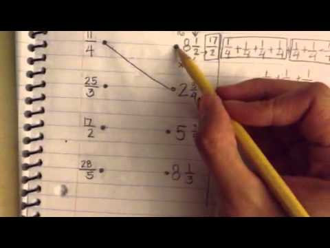 Finding Equivalent Mixed Numbers for Improper Fractions