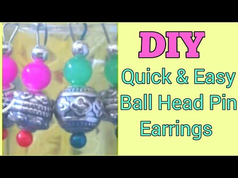 Easy peasy ball head pin dangler How to make beaded dangle earrings | DIY quick simple bead  earring
