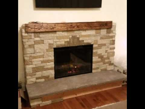 Diy air stone fireplace with electric insert