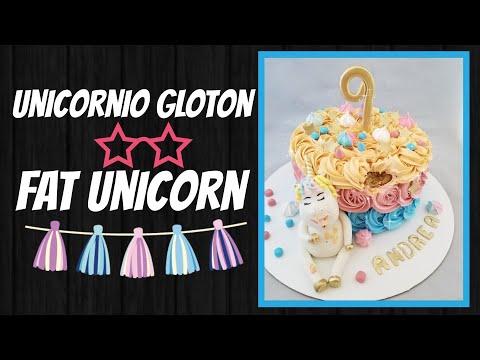 Pastel unicornio gloton ,tragon/ fat unicorn cake