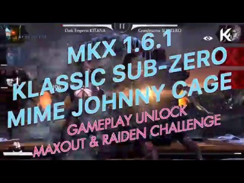 MKX 1.6.1 Klassic SubZero Mime Johnny Cage Gameplay Giveaway X-ray Fatality