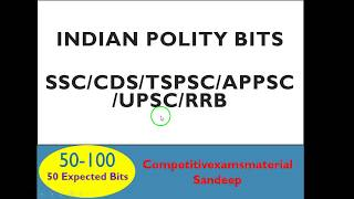 Indian Polity bits in english for SSC/RRB/CDS/TSPSC/APPSC