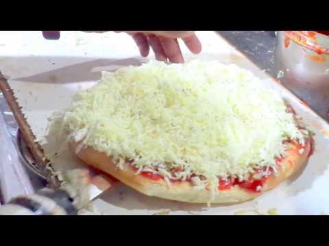 People enjoying Pizza Burger With Lots of Cheese Street food part 1