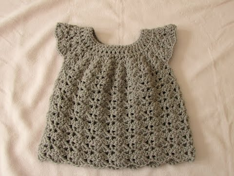 How to crochet an easy shell stitch baby / girl's dress for beginners