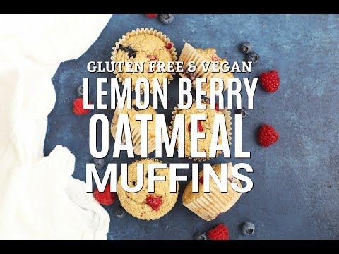Lemon Berry Oatmeal Muffins (Gluten Free & Vegan!)