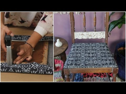 How to Stencil an Upholstered Fabric Chair - Chalk Paint Painted Furniture Upcycle