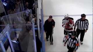 Stuck penalty box door. New Jersey Devils vs NY Rangers Game 2 5/16/12 NHL Hockey