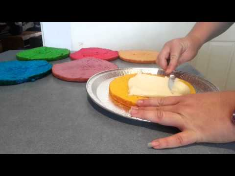 Easy DIY Cake Decor : How to layer rainbow cake basic