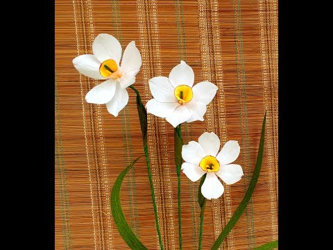 क्रेप पेपर फूल नरगिस \ How to make Paper Flower Narcissus poeticus
