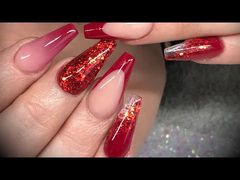 Acrylic nails - red design set