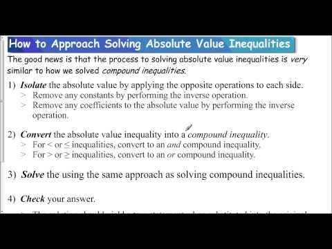 Lesson 1.3 - How to Approach Solving Absolute Value Inequalities