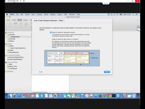 Setting up Questionnaire from Excel in MAC & Autocoding