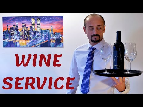 WINE SERVICE! PRESENTING AND OPENING A WINE BOTTLE! RESTAURANT SERVICE TRAINING FOR NEW WAITERS!