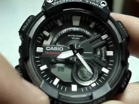 Setting Casio AEQ-110W analog time | How to set AEQ-110W