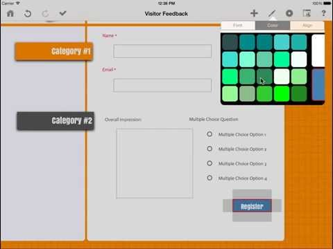 How to change the color of the web form submit button using Touch Forms for iPad