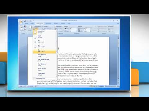 How to change paper size in Microsoft® Word 2007