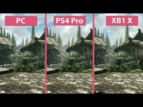 [4K] TESV Skyrim – PC vs. PS4 Pro vs. Xbox One X Frame Rate Test & Graphics Comparison