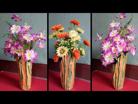 Best use of Old t-shirt and plaster of paris | Make a Beautiful flower vase