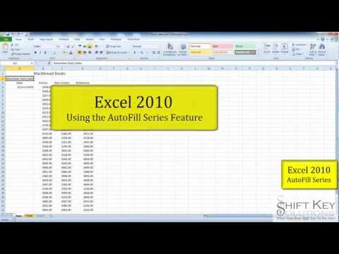 Excel 2010 Using Fill Series Feature
