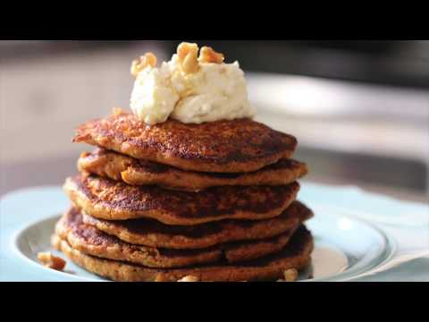 CARROT CAKE  PANCAKES WITH CREAM CHEESE FROSTING WITH TOASTED WALNUTS
