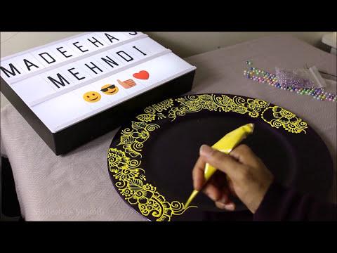 DIY Personalised candles henna mehndi table decor ideas  | IG: @madeehas_mehndi