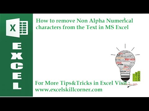 How to remove Non Alpha Numerical characters from the Text in MS Excel