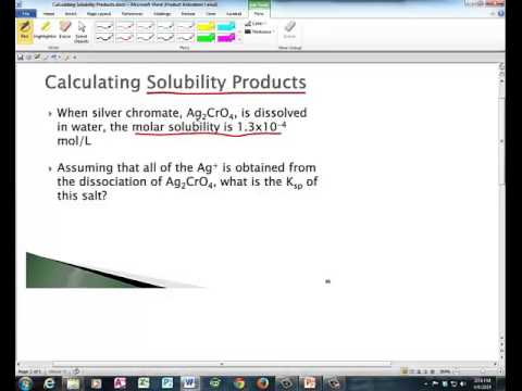 Molar Solubility and Calculating Solubility Product Ksp