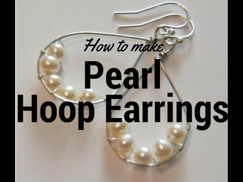 How to make pearl beaded hoop earrings tutorial