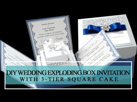 HOW TO MAKE DIY WEDDING EXPLODING BOX INVITATION WITH 3-TIER SQUARE CAKE