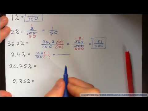 Change percent to fraction in lowest terms