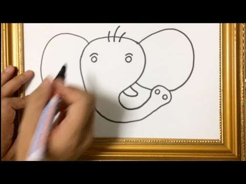 SIMPLE LESSON HOW TO DRAW ANIMAL : ELEPHANT FACE USING MARKER PEN