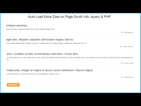 Load More Data on Page Scroll using Ajax Jquery PHP