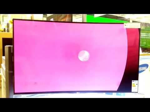 Curved LG OLED screen showing screen burn