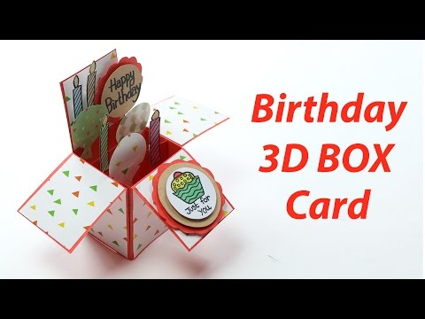 3D Birthday Card - Handmade, Unique Pop Up Box B'day Card Making