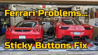 Project Ferrari F430 Interior Repairs - Fixing Sticky Buttons with Alcohol & Spray Paint?!