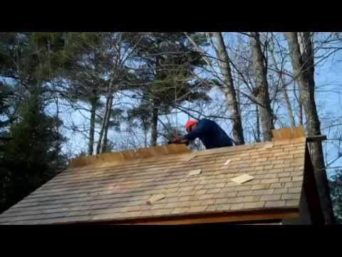 Installing Cedar Shingle Roof on Alewife Smokehouse
