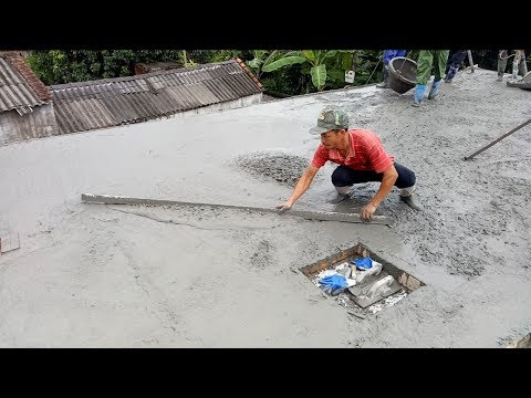 Mixer Construction: Amazing Mixers Cement Construction a House Roof Firmly - Concrete Mixers Working