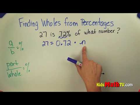 Finding whole numbers from percentages math video