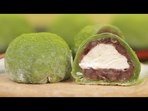 Matcha Cream Daifuku (Green Tea Mochi Dessert Recipe) | Cooking with Dog